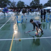 Participants enjoy a spot of MLC Tennis Hot Shots at the Macclesfield-Echunga AO Blitz town party; Tennis Australia