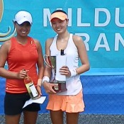 Mildura Grand Tennis International finalist Alison Bai (L) of Australia poses alongside champion Su Jeong Jang of Korea; Tennis Australia
