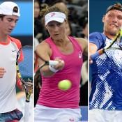 (L-R) Thanasi Kokkinakis, Samantha Stosur and Sam Groth are among the Aussies competing at Indian Wells; Getty Images