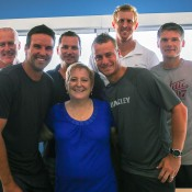 Wendy Shipp (centre) with past and present Australian players (l to r): John Fitzgerald, Pat Rafter, Josh Eagle, Lleyton Hewitt, Chris Guccione and Peter Luczak.