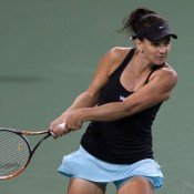 Casey Dellacqua in action during her first round victory over Christina McHale at the BNP Paribas Open at Indian Wells; Michael Cummo/BNP Paribas Open
