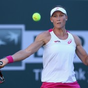 INDIAN WELLS, CA - MARCH 08:  Samantha Stosur of Australia returns a forehand to Francesca Schiavone of Italy during the BNP Paribas Open at Indian Wells Tennis Garden on March 8, 2014 in Indian Wells, California.  (Photo by Jeff Gross/Getty Images)