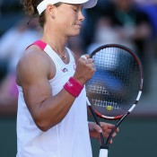 Samantha Stosur of Australia reacts following her victory over Francesca Schiavone of Italy during the BNP Paribas Open at Indian Wells Tennis Garden on March 8, 2014 in Indian Wells, California.  (Photo by Jeff Gross/Getty Images)