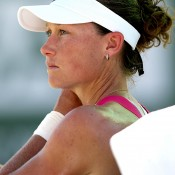 Samantha Stosur of Australia cools down between points while playing Flavia Pennetta of Italyt during the BNP Paribas Open at the Indian Wells Tennis Garden on March 10, 2014 in Indian Wells, California.  (Photo by Matthew Stockman/Getty Images)