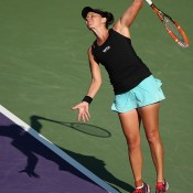 Casey Dellacqua serves during her three-set third round loss to 29th seed Venus Williams at the Sony Open in Miami; Getty Images