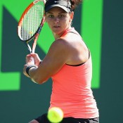 Casey Dellacqua in action during her second victory over Jana Cepelova at the Sony Open in Miami; Getty Images