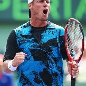 Lleyton Hewitt celebrates during his first round win over Robin Haase at the Sony Open in Miami; Getty Images
