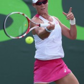 Sam Stosur in action during her second round victory over Kiki Bertens; Getty Images