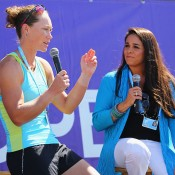 Sam Stosur (L) during a fan Q&A session at the Sony Open in Miami; Getty Images