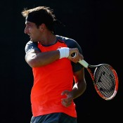Marinko Matosevic in action during his first round win over Alejandro Falla; Getty Images