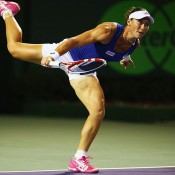 Sam Stosur in action during her third round loss to Coco Vandeweghe at the Sony Open in Miami; Getty Images
