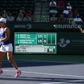 Svetlana Kuznetsova (R) and Sam Stosur play Su-Wei Hsieh and Shuai Peng at the 2014 BNP Paribas Open. (Photo by Billie Weiss/BNP Paribas Open)