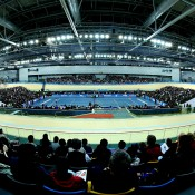 HONG KONG - MARCH 03:  General view of the Velodrome during the match between Li Na of China and Samantha Stosur of Australia during the BNP Paribas Showdown on World Tennis Day at the Hong Kong Velodrome on March 3, 2014 in Hong Kong, Hong Kong.  (Photo by Stanley Chou/Getty Images)