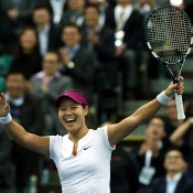 HONG KONG - MARCH 03:  Li Na of China reacts after winning a point against Samantha Stosur of Australia during the BNP Paribas Showdown on World Tennis Day at the Hong Kong Velodrome on March 3, 2014 in Hong Kong, Hong Kong.  (Photo by Stanley Chou/Getty Images)
