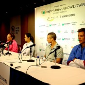 HONG KONG - MARCH 03:  (L-R) Samantha Stosur of Australia, Li Na of China, Lleyton Hewitt of Australia and Tomas Berdych of Czech Republic during a Press Conference at a hotel ahead of the BNP Paribas Showndown at the Hong Kong Velodrome on March 3, 2014 in Hong Kong, Hong Kong.  (Photo by Stanley Chou/Getty Images)