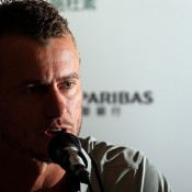 HONG KONG - MARCH 03:  Lleyton Hewitt of Australia speaks during a Press Conference at a hotel ahead of the BNP Paribas Showndown at the Hong Kong Velodrome on March 3, 2014 in Hong Kong, Hong Kong.  (Photo by Stanley Chou/Getty Images)