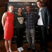 HONG KONG - MARCH 02:  (L-R) Samantha Stosur of Australia, Li Na of China, Lleyton Hewitt of Australia and Tomas Berdych of Czech Republic pose during a Cocktail Reception ahead of the BNP Paribas Tennis Showdown at the Hong Kong Velodrome at a hotel on March 2, 2014 in Hong Kong, Hong Kong.  (Photo by Stanley Chou/Getty Images)