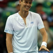 HONG KONG - MARCH 03:  Tomas Berdych of Czech Republic reacts during his match against Lleyton Hewitt of Australia during the BNP Paribas Showdown on World Tennis Day at the Hong Kong Velodrome on March 3, 2014 in Hong Kong, Hong Kong.  (Photo by Stanley Chou/Getty Images)