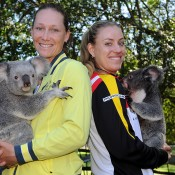 Sam Stosur, Australia, and Angelique Kerber, Germany, at the official draw at Lone Pine Koala Sanctuary ahead of the Fed Cup semifinal tie in Brisbane. Photo by MATT ROBERTS/GETTY IMAGES
