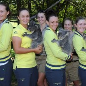 Australians Sam Stosur, Ashleigh Barty, Casey Dellacqua and Storm Sanders at the official draw at Lone Pine Koala Sanctuary ahead of the Fed Cup semifinal tie in Brisbane. Photo by MATT ROBERTS/GETTY IMAGES