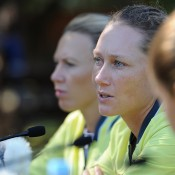 Sam Stosur, centre, at the official draw at Lone Pine Koala Sanctuary ahead of the Fed Cup semifinal tie in Brisbane. Photo by MATT ROBERTS/GETTY IMAGES