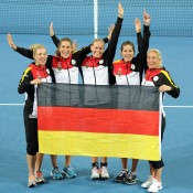 The German team celebrates beating Australia. Photo by MATT ROBERTS/GETTY IMAGES