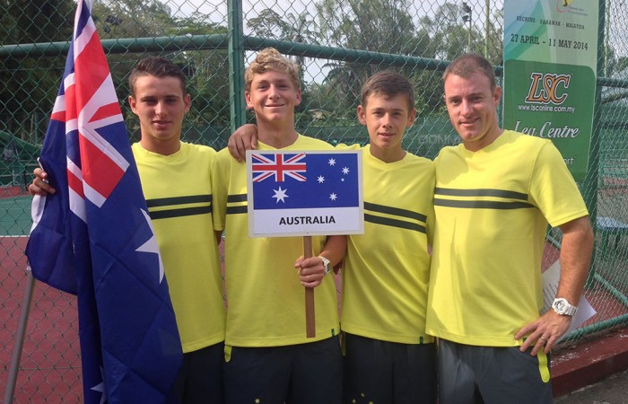 Australia's Junior Davis Cup team of (L-R) Oliver Anderson, Max Purcell, Alex De Minaur and captain Jarrad Bunt at the 2014 Asia/Oceania qualifying event in Kuching, Malaysia