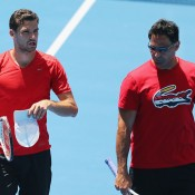 Grigor Dimitrov (L) and coach Roger Rasheed during a practice session at Australian Open 2014; Getty Images