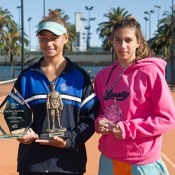 Violet Apisah (L) holds the trophy after winning the final of the Gallipoli Youth Cup at Melbourne Park over Jaimee Fourlis (R); Elizabeth Xue-Bai