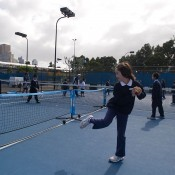 School students enjoy MLC Tennis Hot Shots at Melbourne Park as part of the Gallipoli Youth Cup's School Commemoration Program; Elizabeth Xue-Bai