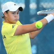 Ashleigh Barty at a Fed Cup training session ahead of their Fed Cup tie between Australia and Germany in Brisbane. Photo by CHRIS HYDE/GETTY IMAGES