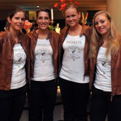 The German Fed Cup team (from left) Julia Goerges, Anna Petkovic, Anna-Lena Groenefeld and Angelique Kerber at the Fed Cup official dinner at the Stamford Plaza on April 17, in Brisbane. Photo by DAVID HARDENBERG/GETTY IMAGES