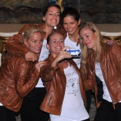 The German Fed Cup team (from left) captain Barbara Rittner, Andrea Petkovic, Julia Goerges, Angelique Kerber and Anna-Lena Groenefeld at the Stamford Plaza on April 17 in Brisbane. Photo by DAVID HARDENBERG/GETTY IMAGES