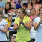 Australian team show their support. Photo by MATT ROBERTS/GETTY IMAGES