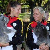 Andrea Petkovic and Barbara Rittner of Germany at the official draw ahead of the Fed Cup semifinal tie against Australia at Lone Pine Koala Sanctuary on Friday in Brisbane. Photo by MATT ROBERTS/GETTY IMAGES