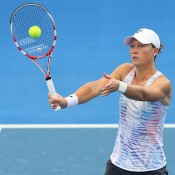 Sam Stosur at a Fed Cup training session ahead of their Fed Cup tie between Australia and Germany in Brisbane. Photo by CHRIS HYDE/GETTY IMAGES
