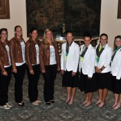 The German Fed Cup team (from left) captain Barbara Rittner, Anna Petkovic, Anna-Lena Groenefeld, Julia Goerges and Angelique Kerber and the Australian Federation Cup team (from left) Samantha Stosur, Casey Dellacqua, Ashleigh Barty and Storm Sanders at the Fed Cup official dinner at the Stamford Plaza on April 17 in Brisbane. Photo by David Hardenberg/Getty Images