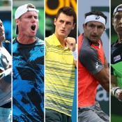 (L-R) Nick Kyrgios, Lleyton Hewitt, Bernard Tomic, Marinko Matosevic and Matt Ebden are among the highest ranked Australians in the ATP top 200; Getty Images