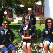 The Australian Wheelchair World Team Cup squad of (front row L-R) Keegan Oh-Chee, Ben Weekes and Adam Kellerman with (back row) coach Andrew Ash; Tennis Australia