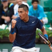 Nick Kyrgios in action against No.8 seed Milos Raonic in the first round at Roland Garros; Elizabeth Xue Bai