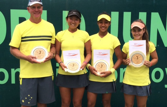 The Australian girls' World Junior Tennis team of (L-R) coach Craig Tyzzer, Jeanette Lin, Destanee Aiava and Selina Turlja at the Asia/Oceania qualifying event in New Delhi, India; Getty Images