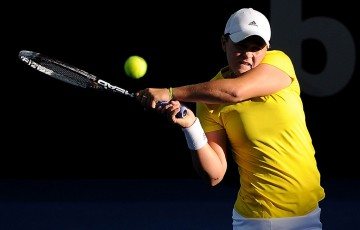 Ash Barty in action during Australia's Fed Cup semifinal against Germany in Brisbane; Getty Images