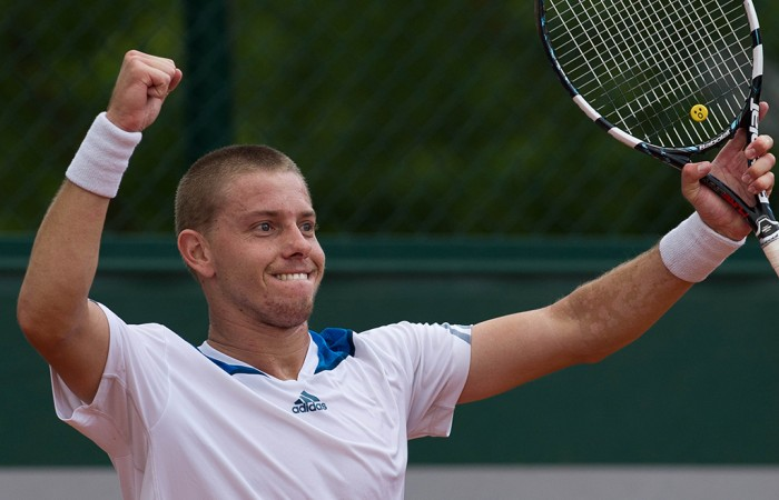 James Duckworth celebrates his second round qualifying victory over Blaz Kavcic at the French Open, 2014. Xue Bai.