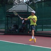 Max Purcell in action at the Junior Davis Cup Asia/Oceania qualifying competition in Kuching, Malaysia; Tennis Australia