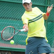 Oliver Anderson in action at the Junior Davis Cup Asia/Oceania qualifying competition in Kuching, Malaysia; Big Dog Sports Photography
