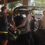 The Australian team of (L-R) Alex De Minaur, Oliver Anderson and Max Purcell arrive for the Junior Davis Cup Asia/Oceania qualifying competition in Kuching, Malaysia; Tennis Australia
