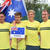 The Australian Junior Davis Cup team of (L-R) Oliver Anderson, Alex De Minaur, Max Purcell and captain Jarrad Bunt ahead of the Asia/Oceania qualifying competition in Kuching, Malaysia; Tennis Australia