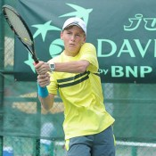 Max Purcell in action at the Junior Davis Cup Asia/Oceania qualifying competition in Kuching, Malaysia; Big Dog Sports Photography