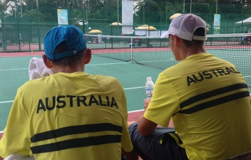 Alex De Minaur  (L) and Oliver Anderson in action for Australia in doubles during the Junior Davis Cup Asia/Oceania qualifying competition; Tennis Australia