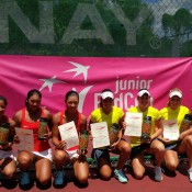 Qualifying finalists China (L) and Australia pose with their certificates after the Australian team of (L-R) Priscilla Hon, Kimberly Birrell, Maddison Inglis and captain Louise Pleming won finished atop the Junior Fed Cup Asia/Oceania qualifying competition following a 2-0 win; Tennis Australia